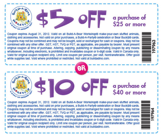 picture about Build a Bear Printable Coupons named Produce-A-Undertake-Workshop: $5 Off $25 Order or $10 Off $40