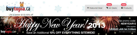 Buytopia Happy New Year - Extra 10 Off All Daily Deals Promo Code