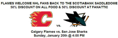 Calgary Flames Welcome Back NHL Fans to Dome - 50 Discount on All Food & 50 Discount at Fanattic