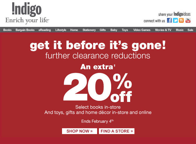 Chapters Indigo Further Clearance Reductions - Extra 20 Off Select Books, Toys & Gifts