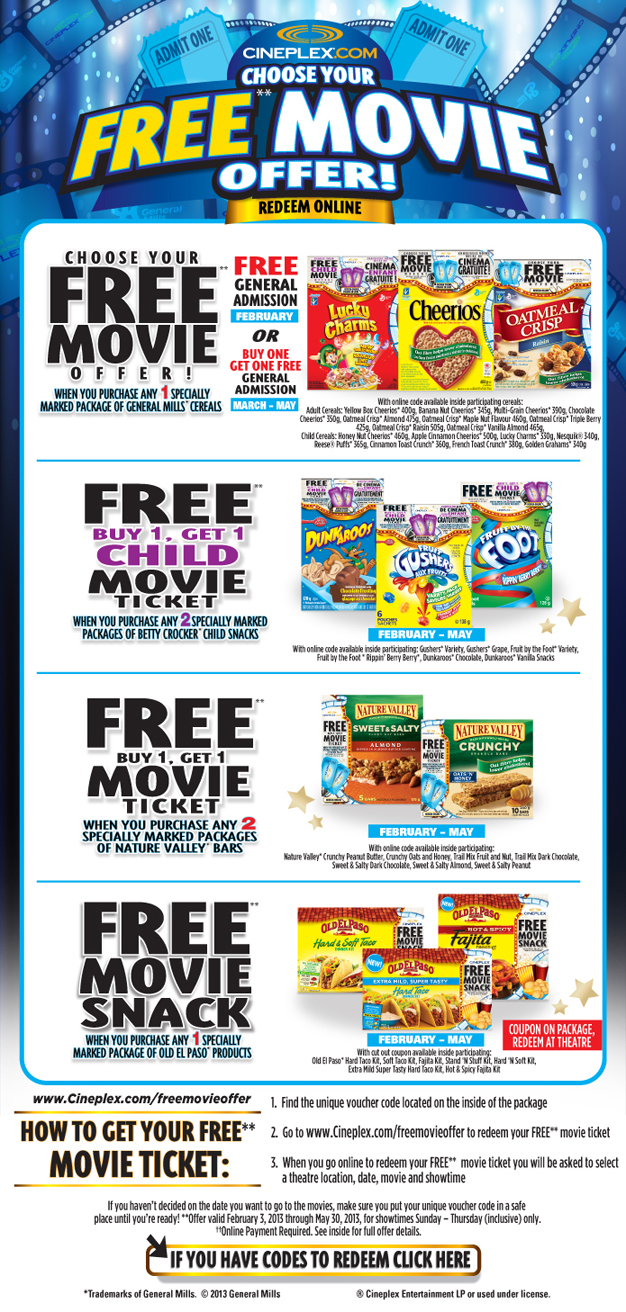 Cineplex Odeon Free Movie Offer On Specially Marked