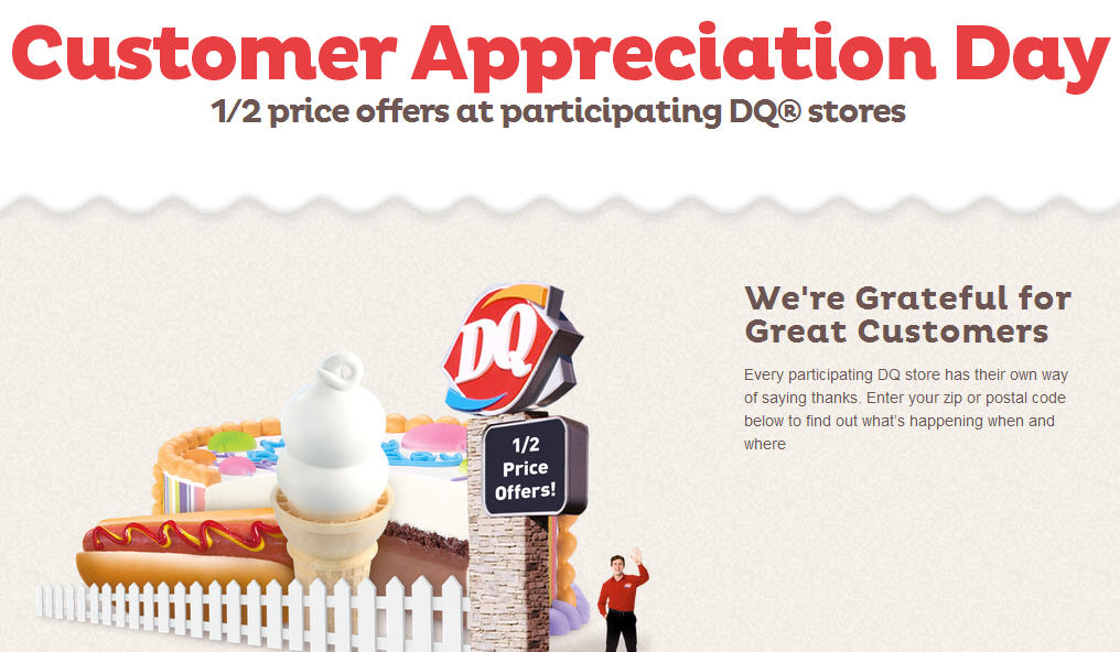 Dairy Queen Customer Appreciation Day - 50 Off Price Offers at Participating DQ Stores