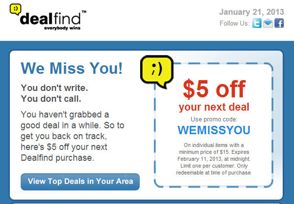 DealFind $5 Off Your Next Deal Promo Code (Until Feb 11)