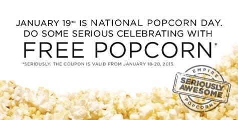 Empire Theatres National Popcorn Day - FREE Bag of Popcorn (Jan 18-20)