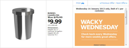 IKEA - Calgary Wacky Wednesday Deal of the Day (Jan 16) A