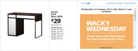 IKEA - Calgary Wacky Wednesday Deal of the Day (Jan 16) B