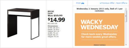 IKEA - Calgary Wacky Wednesday Deal of the Day (Jan 2) B