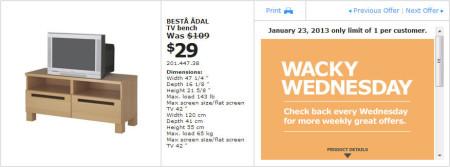 IKEA - Calgary Wacky Wednesday Deal of the Day (Jan 23) A