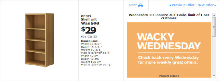 IKEA - Calgary Wacky Wednesday Deal of the Day (Jan 30) A
