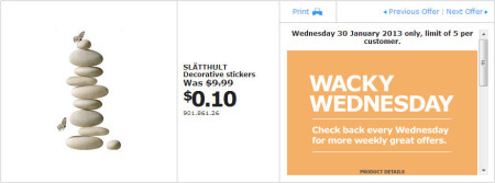 IKEA - Calgary Wacky Wednesday Deal of the Day (Jan 30) B