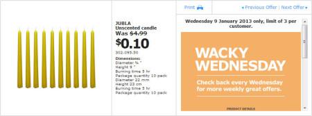 IKEA - Calgary Wacky Wednesday Deal of the Day (Jan 9) B