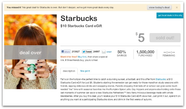 LivingSocial's Starbucks Deal Becomes Daily Deals All-Time Best Selling Deal