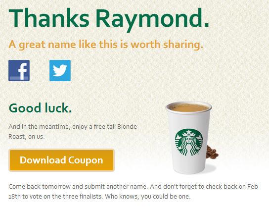 Starbucks FREE Tall Blonde Roast Coffee Coupon