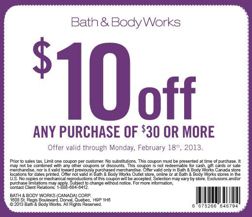 Bath & Body Works $10 Off Any Purchase of $30 or More Coupon (Until Feb 18)