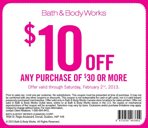 Bath & Body Works $10 Off Any Purchase of $30 or More Coupon (Until Feb 2)