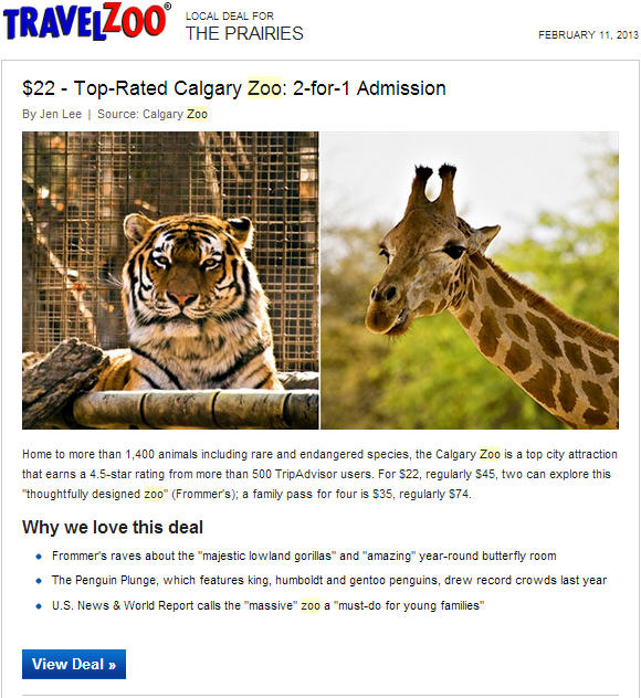 Calgary Zoo 2-for-1 Admission Offer on TravelZoo (50 Off)