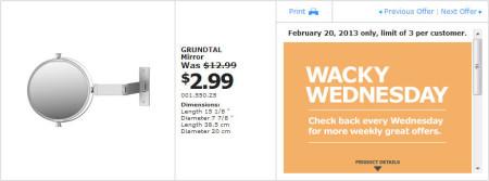 IKEA - Calgary Wacky Wednesday Deal of the Day (Feb 20) A