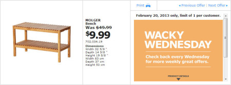 IKEA - Calgary Wacky Wednesday Deal of the Day (Feb 20) B