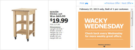 IKEA - Calgary Wacky Wednesday Deal of the Day (Feb 27) B