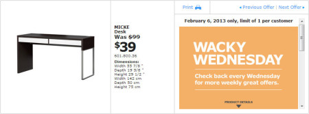 IKEA - Calgary Wacky Wednesday Deal of the Day (Feb 6) A