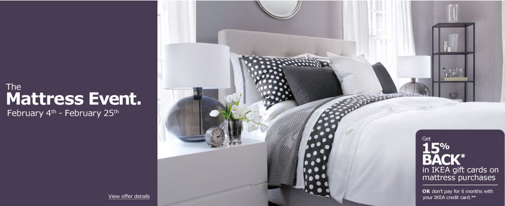 IKEA The Mattress Event - Get 15 Back in IKEA Gift Cards on Mattress Purchases (Feb 4-25)
