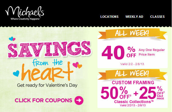 Michaels 40 Off Coupon - Sweet Savings for Valentine's Day