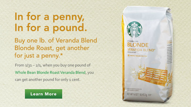 Starbucks Buy One Pound of Blonde Roast Veranda Blend, Get Another for a Penny (Feb 1)