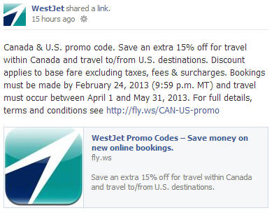 WestJet Save an Extra 15 Off Flights within Canada and to US (Book by Feb 24)