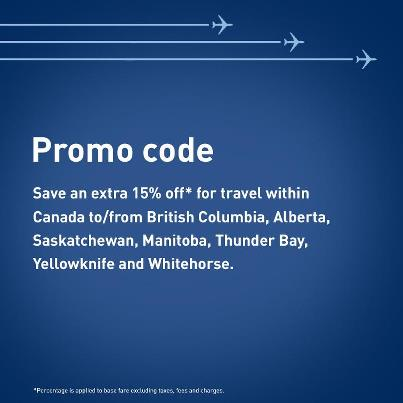 WestJet Save an Extra 15 Off Promo Code on Select Flights within Canada