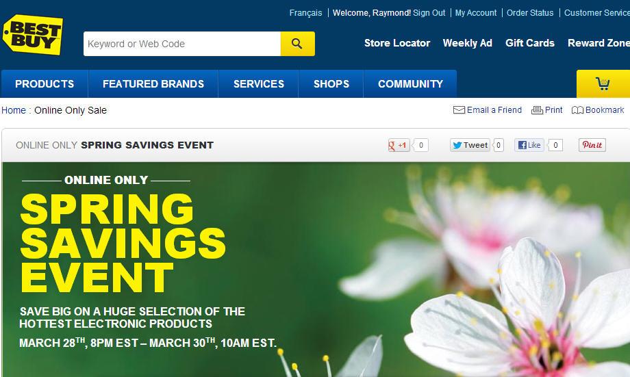 Best Buy Springs Savings Event Online Only (Mar 28-30)