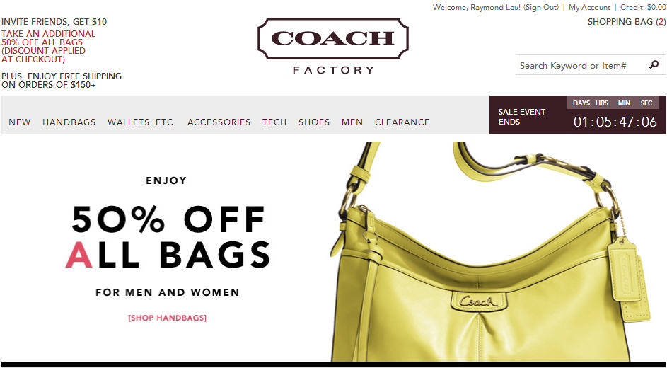 Coach outlet store online coupon code