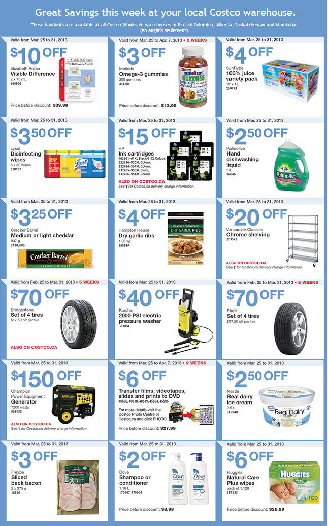 Costco Weekly Handout Instant Savings Coupons WEST (Mar 25-31)