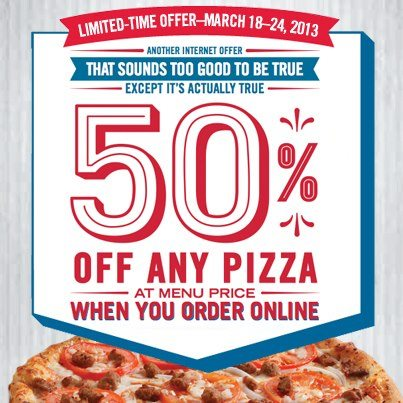 Domino's Pizza 50 Off Any Pizza Online Promo Code (March 18-24)