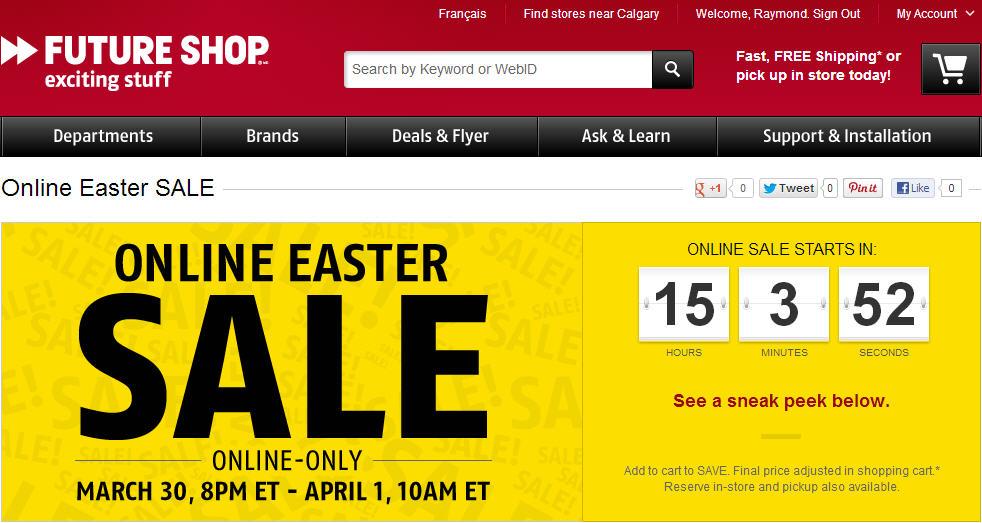 Future Shop Online Easter Sale (Mar 30 - Apr 1)