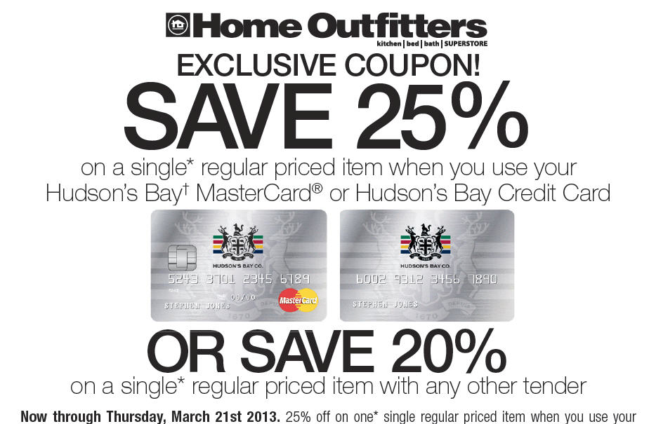 Home Outfitters Save 20 or 25 Off a Single Regular Priced Item Coupon (Until Mar 21)