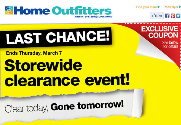 Home Outfitters Storewide Clearance Event (Until Mar 7)