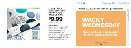 IKEA - Calgary Wacky Wednesday Deal of the Day (March 13) A