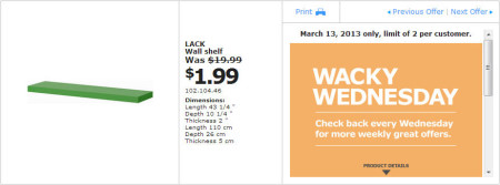 IKEA - Calgary Wacky Wednesday Deal of the Day (March 13) B
