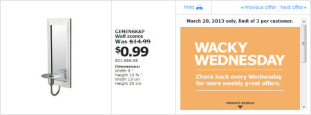 IKEA - Calgary Wacky Wednesday Deal of the Day (March 20) A