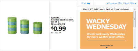 IKEA - Calgary Wacky Wednesday Deal of the Day (March 27) A