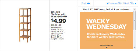 IKEA - Calgary Wacky Wednesday Deal of the Day (March 27) B