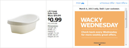 IKEA - Calgary Wacky Wednesday Deal of the Day (March 6) B