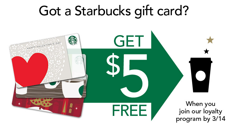 Starbucks FREE $5 Starbucks Card When you Join Starbucks Rewards (Until Mar 14)