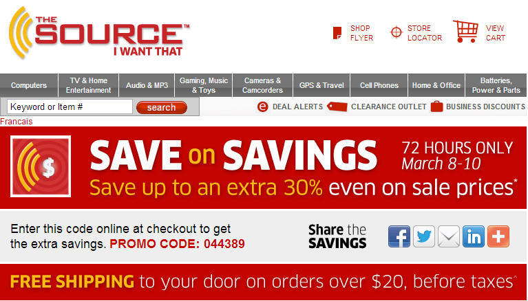 The Source Save up to an Extra 30 Even on Sale Prices + Free Shipping (March 8-10)