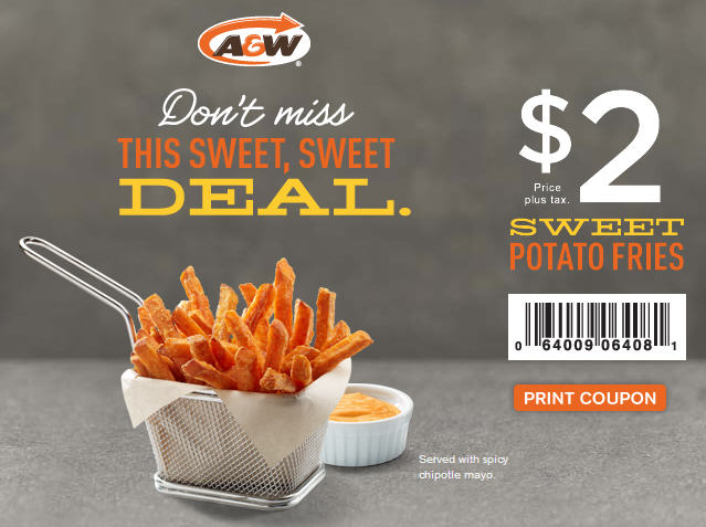 A&W $2 Sweet Potatoe Fries Coupon (Until May 31)