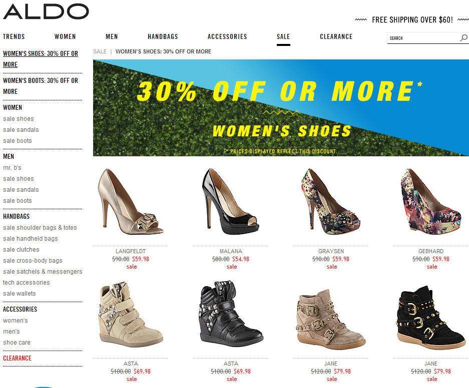 Aldo 30 Off or More Select Women's Shoes