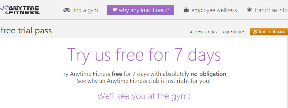 Anytime Fitness FREE 7 or 14 Day Gym Trial Pass