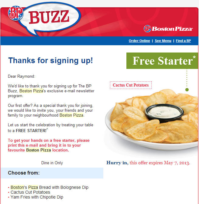 Boston Pizza FREE Appetizer with Email Sign-Up