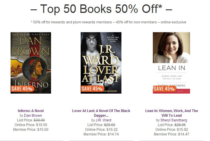 Chapters Indigo Extra $5 Off $30 Purchase Code + 45-50 Off Top 50 Bestsellers + Free Shipping