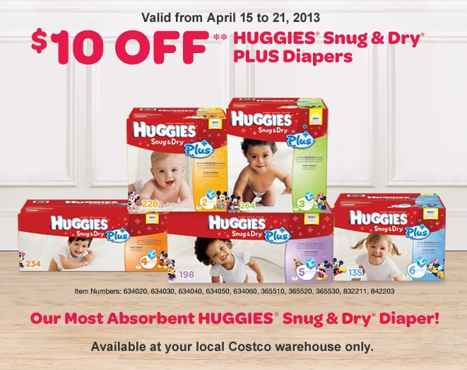 Costco Save $10 Off Huggies Snug & Dry Plus Diapers (Apr 15-21)